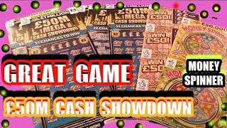 Wow  What a Scratchcards Game..£50M CASH SHOWDOWN..MONEY SPINNER..WIN £50...INSTANT £100..