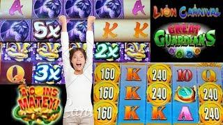 NEW GAME Great Guardians Lion Carnival A'Coins Matey BY KONAMI Live Play/Free Spins