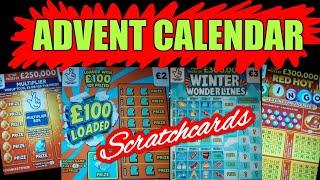 Scratchcards..ADVENT CALENDAR..REDHOT BINGO..WONDERLINES..£100 LOADED..£250.000 MULTIPLIER