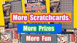 Scratchcards..Diamond 7s..Merry Millions.£100 Loaded..Day-3 of Chance & More Prizes