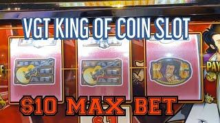 VGT KING OF COIN $10 MAX BET LIVE PLAY !!  RIVER SPIRIT CASINO TULSA OK !!!