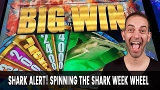 BIG Win with a BIG Shark for Shark Week!  LAS VEGAS SLOTS BABY!