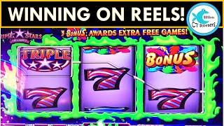 WINNING ON REELS @ MOHEGAN! BONUSES ON TRIPLE STARS SLOT MACHINE! TRIPLE RED HOT SEVENS!