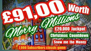 MASSIVE £91.00 of Scratchcards..it a BIG Game..Merry Millions..etc.. (fast & furious  classic game)