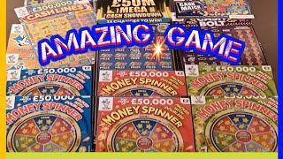 Here's MEGA Scratchcard Game..FANTASTIC..MONEY SPINERS.£50M Cash Showdown..CASH LINES..CASH BOLT