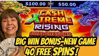 40 Free Spins! Big Win-New Ca$h Xtreme Rising Dual Dragons