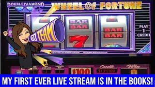MY FIRST EVER LIVE STREAM FROM COMSO!  WHAT A BLAST! WHEEL OF FORTUNE $100 HANDPAY JACKPOT!