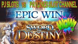 EPIC WIN  SWORD OF DESTINY   PJ SLOTS VS PAYLINES SLOT CHANNEL  Angel Blade
