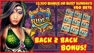 SKY RIDER Slot Machine ️HIGH LIMIT Session with $50 SPINS & BACK TO BACK Bonus Rounds Casino