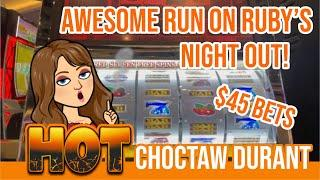$45 BETS  AWESOME RUN ON RUBY'S NIGHT OUT SLOT MACHINE  LIVE PLAY ON HOT RED RUBY $25 TOO!