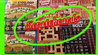 Scratchcards ..MILLIONAIRE  CASHWORD..Cash Bolt..FLAMINGO..£100,000 Yellow.. mmmmmmMMM..says