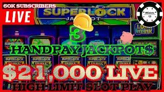 $21K LIVESTREAM, 60K SUBSCRIBER SPECIAL FROM Seminole Hard Rock  3 AWESOME HANDPAY JACKPOTS