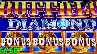 BUFFALO DIAMOND SLOT MACHINE | COINS! COINS! COINS • $6 MAX BET BONUS |