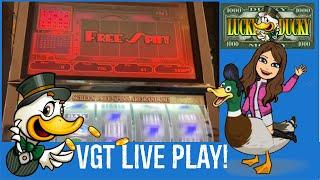 VGT 9 Line Slot Machine Live Play - LUCKY DUCKY!  Great run - Lot of Red Screens!