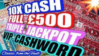 ️10X CASH..CASHWORD.FULL £500s.️TRIPLE JACKPOT ️Scratchcard..  mmmmmmMMM