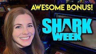 CRAZY BONUS! So Many Spins! Shark Week Slot Machine!! How Big Will The Shark Award Be?