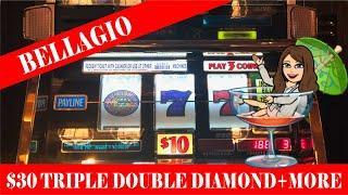 $30 Triple Double Diamond Slot Machine Live Play  2x5x10x Times Pay High Limit! BELLAGIO!