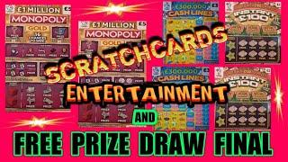FRANTASTIC..Scratchcard Game.MONOPOLY GOLD..CASH LINES..INSTANT  £100.. & .NAME THEM DOGS DRAW FINAL