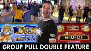 DOUBLE GROUP PULL ZEUS + DANCING DRUMS up to $52 PER SPIN