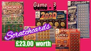 Diamond 7s Doublers..Monopoly..2020..Bee Lucky..Scratchcards and Lucky Bonus..