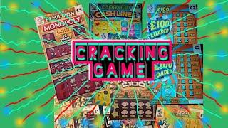 .CRACKING Scratchcard Game(INCLUDES  FREE  PRIZE DRAW)MONOPOLY.£100 LOADED.CASHLINESWIN £50
