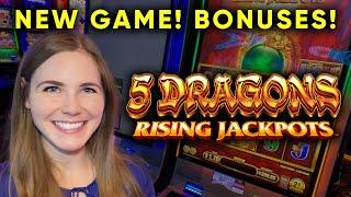 High Volatility BONUSES! First Try On 5 Dragons Rising Jackpots Slot Machine!