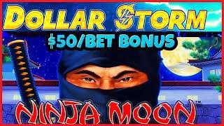 ️HIGH LIMIT Dollar Storm Ninja Moon ️$50 SPIN BONUS ROUND Slot Machine Casino ️