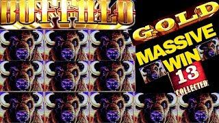 HUGE!!! Buffalo Gold Slot Machine Bonus MASSIVE WIN | 13 Gold Heads HUGE WIN On Buffalo Gold