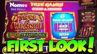 "FIRST LOOK! - Tree of Wealth ""Rich Traditions"" Slot Machine - Long Play with Bonuses"