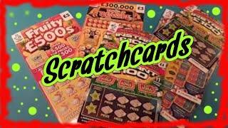 Scratchcards..INSTANT £100..TEMPLE OF TREASURES..FRUITY £500s...CASHLINES...mmmmmmMMM