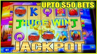 JACKPOT HANDPAY ON VALHALA HIGH LIMIT SLOT MACHINE | UPTO $50 BET BONUS!