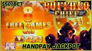 HANDPAY JACKPOT on Buffalo Chief HIGH LIMIT $50 MAX BET Bonus Round Slot Machine Casino