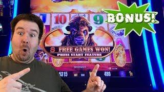 Buffalo Gold Collection BONUS Free Games and RETRIGGERS Slot Machine Live Play