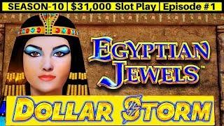Dollar Storm EGYPTIAN JEWELS Slot Machine Live Play   Season 10   Episode #1