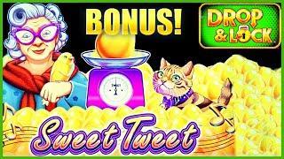 HIGH LIMIT Drop & Lock Sweet Tweet $25 Bonus Round Lock It Link Slot Machine Casino