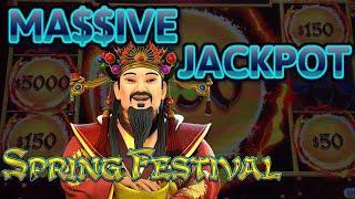 HIGH LIMIT Dragon Link Spring Festival MASSIVE HANDPAY JACKPOT $50 MAX BET Bonus Round Slot Machine