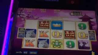 Jade Mountain Slot Machine - Aristocrat - Max Bet Bonus and Crown Bonus Line Hit