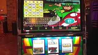 VGT SLOTS Lucky Leprechaun $10 Max Bet  Choctaw Gambling Casino Red Screen Red Spin Live Bingo Card
