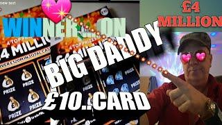 •WOW!•WINNER on BIG DADDY•4 Million Pound Scratchcard•(Through the•night classic game)•