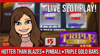 OLD SCHOOL PINBALL - TRIPLE GOLD BAR - HOTTER THAN BLAZES - High Limit Slot Machine Live Play!