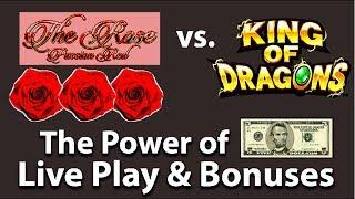 Let's See How Far Can $5 go on Aruze King of Dragons and The Rose Passion Red Bonuses and Line Hit