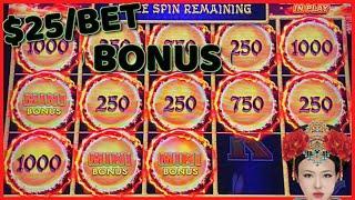 HIGH LIMIT Dragon Link Autumn Moon & Lightning Link Sahara Gold $25 BONUS ROUND Slot Machine Casino