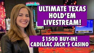 This Was Just BRUTAL! LIVE: Ultimate Texas Hold'em!! $1500 Buy-in!! Giddy up!