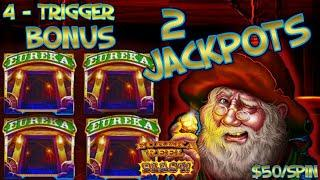 Lock It Link Cats, Hats & More Bats & Eureka (2) HANDPAY JACKPOTS HIGH LIMIT $50 BONUS Slot Machine