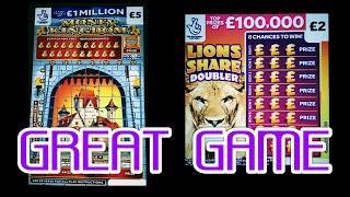 "AMAZING CRACKING FUN SCRATCHCARD GAME""""CASHWORD""..MONEY KINGDOM"" JEWEL SMASH..LION DOUBLER."