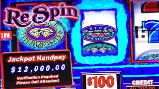 DOUBLE DIAMOND RESPIN HIGH LIMIT  HUGE JACKPOT WINNER  SEVERAL HAND PAYS