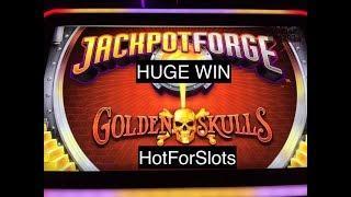 LOADS of SKULLS Huge Win AGS GOLDEN SKULLS JACKPOT FORGE Slot Bonus