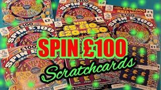 5 of SPIN £100..REDHOT BINGO..CASH GRID..WIN £5/ £10/£20/£50 SCRATCHCARDS