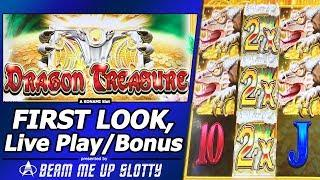 Dragon Treasure Slot - First Look, Live Play and Free Spins Bonus in New Konami game