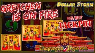 HIGH LIMIT Dollar Storm Emperor's Treasure HANDPAY JACKPOT️$25 BONUS ROUND Slot Machine Casino